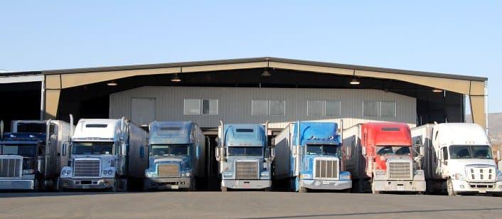 seven trailer trucks